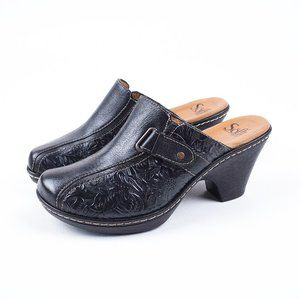 Sofft Embossed Tooled Floral Leather Mules Clogs 8
